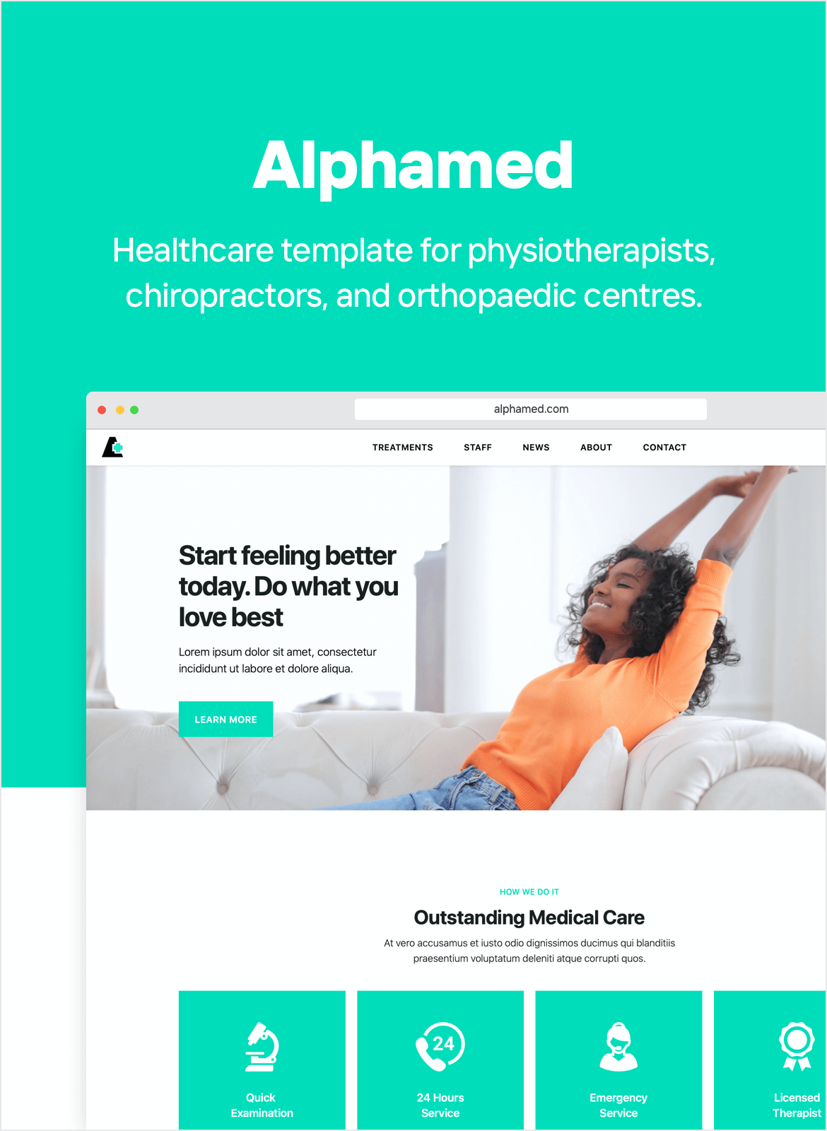 Healthcare website template for physiotherapists, chiropractors, orthopaedic clinics and rehabilitation centres