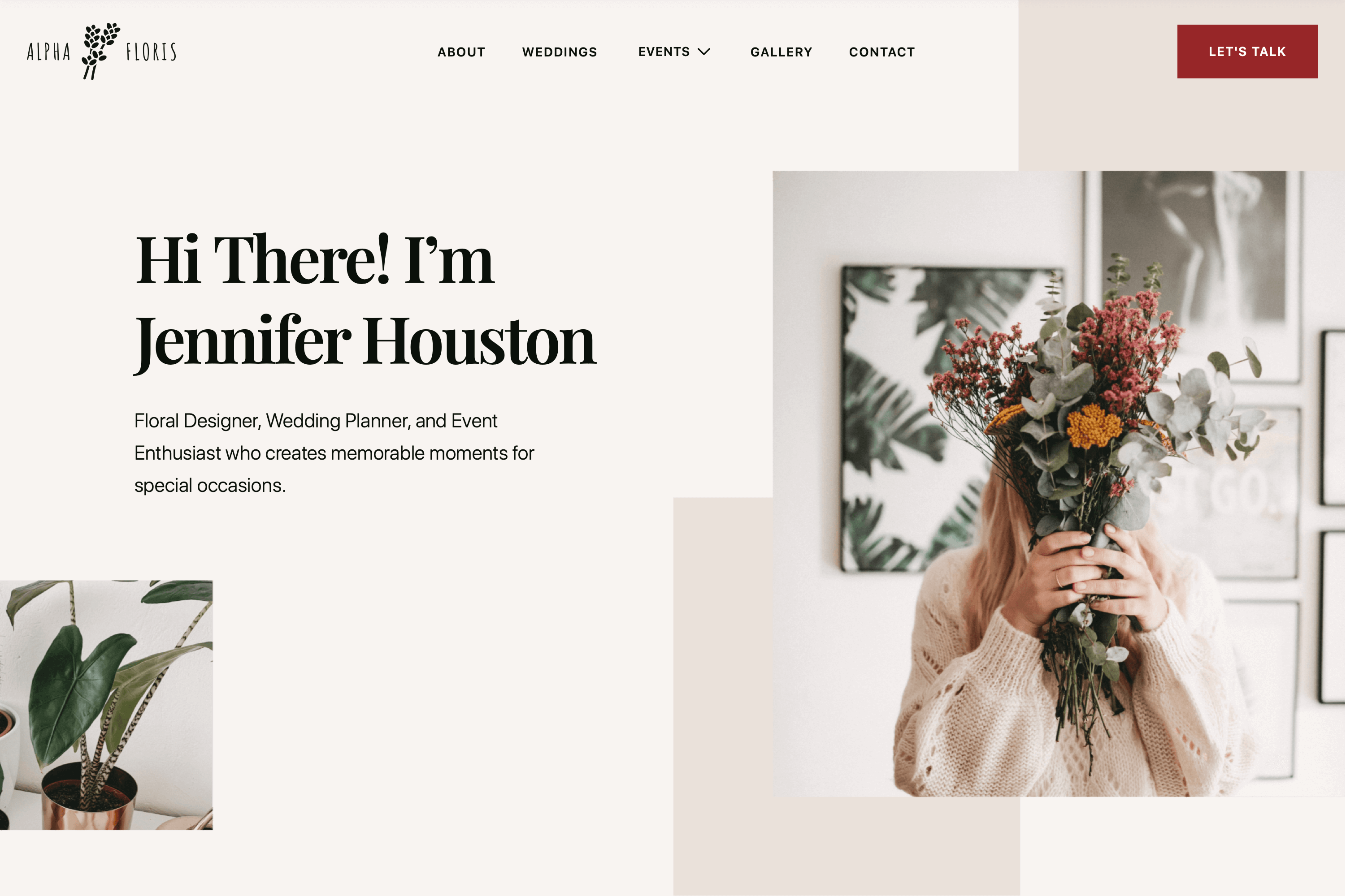 Floral design and event planning Webflow Template website