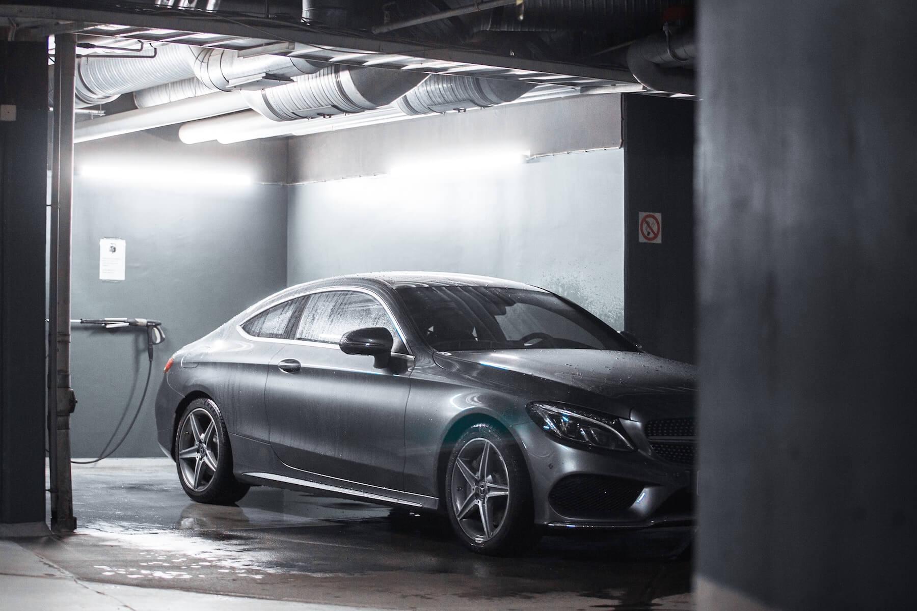Mercedes undergoing Paint Protection Film Maintenance