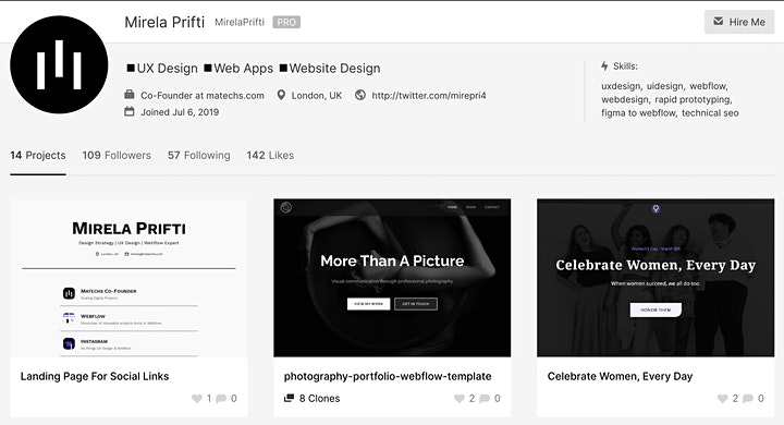 Mirela Prifti Webflow Showcase screenshot