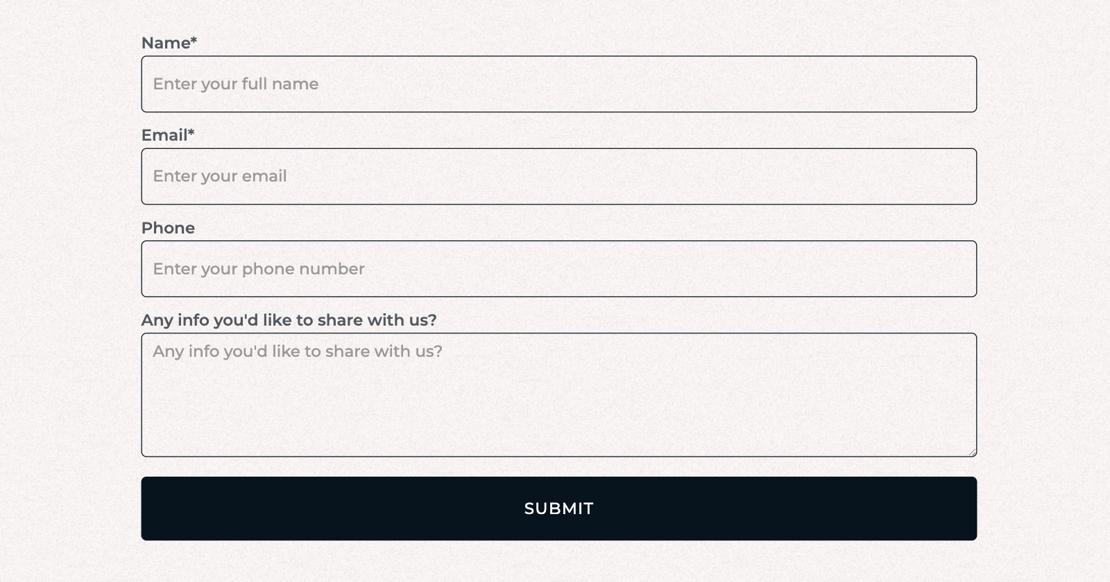 a form showing field labels and placeholders