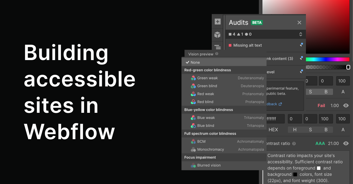 Accessibility checklist for webflow sites