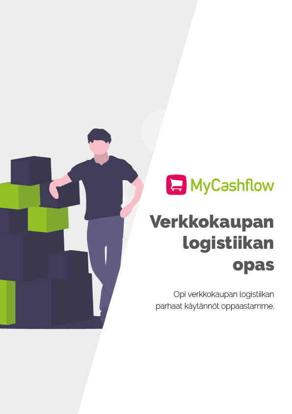 Kansikuva MyCashflow'n Verkkokaupan logistiikkaoppaasta