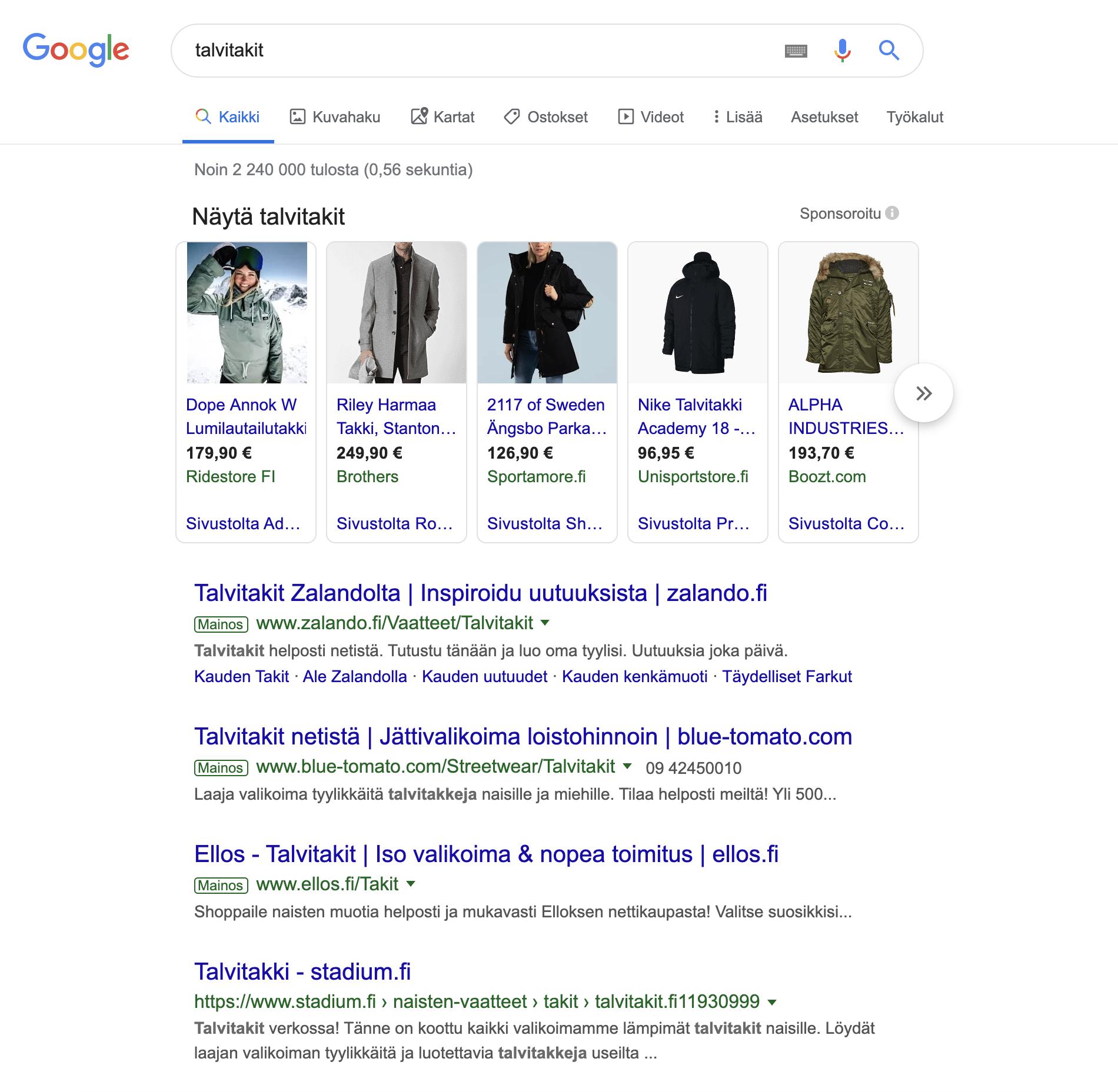 Kuvaruutukaappaus talvitakeista Google Shopping:ssa