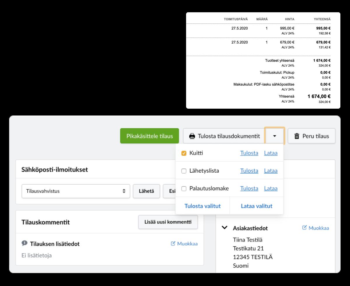 Laajat toimitusintegraatiot MyCashflow-verkkokauppassa