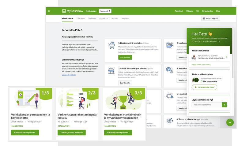 Kuvaruutukaappaus MyCashflow'n asiakaspalvelusta