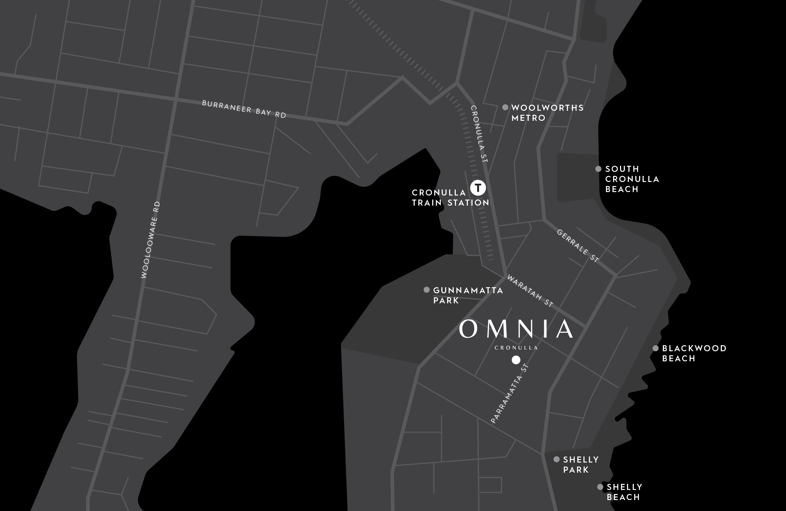 Map of the South Cronulla location of Omnia apartments