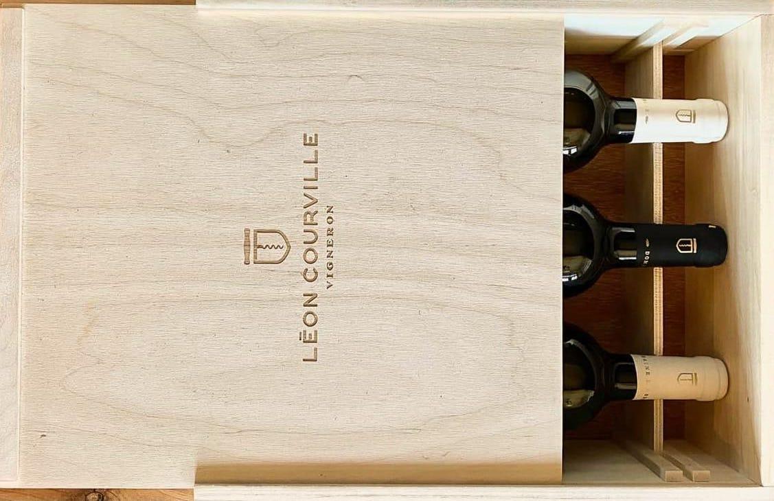 Six bottle wooden case