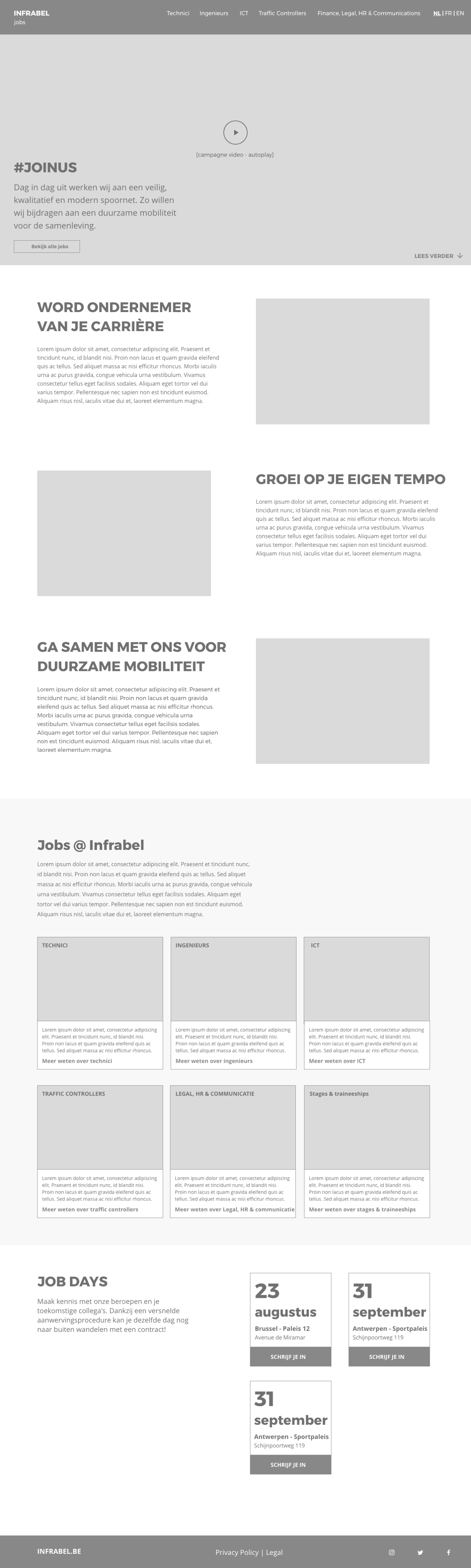 Wireframe of Infrabel's jobs page