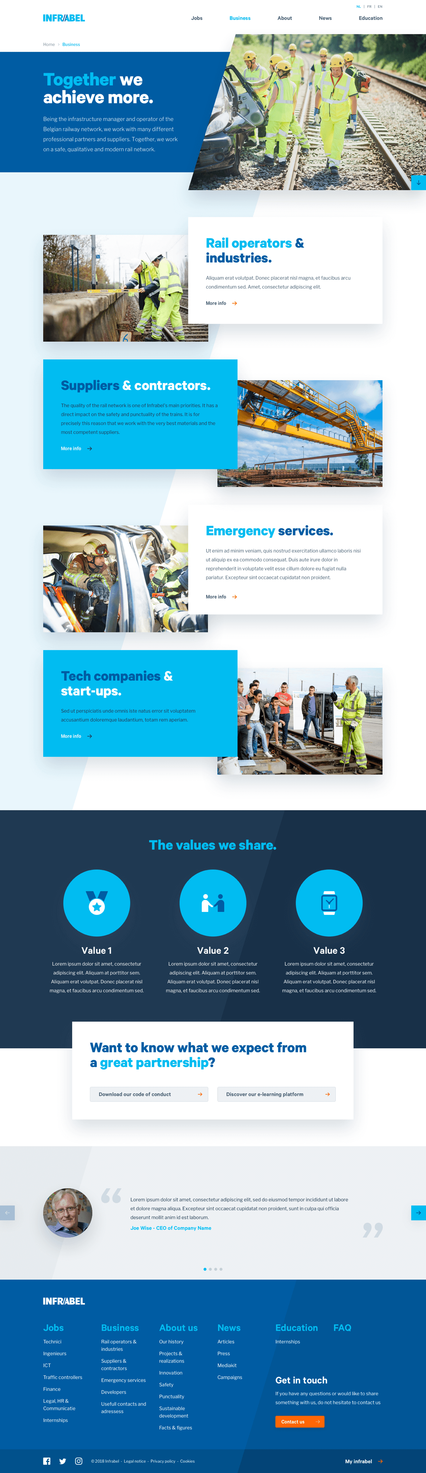 Design for Infrabel's Business page
