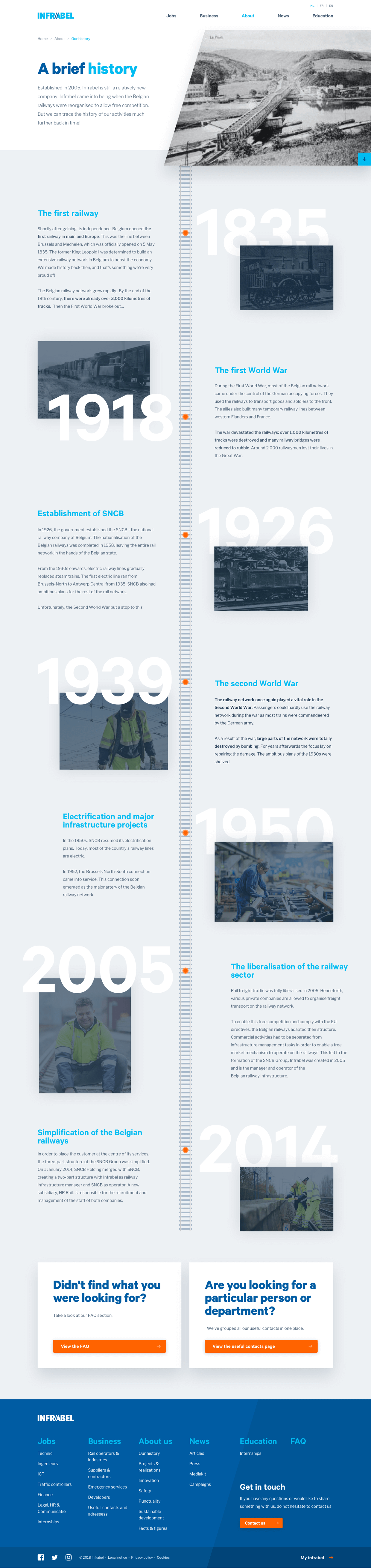 Design for Infrabel's History page