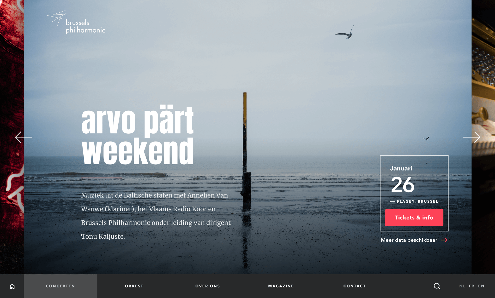 Brussels philharmonic new homepage design