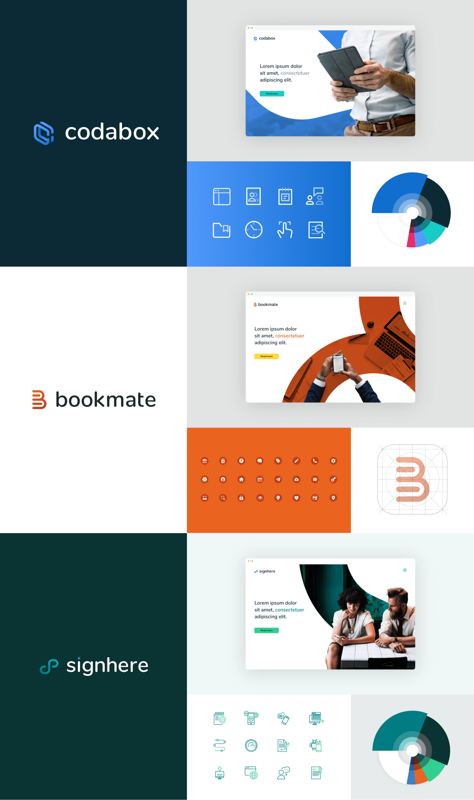 Overview of the rebranding done for Codabox, Bookmate and signhere. Showing a landingpage, icons and colours