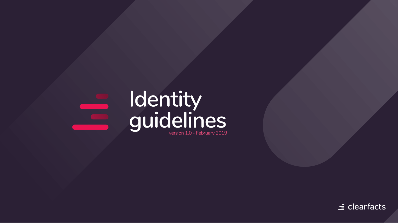 Clearfact identity guidelines - cover showing logo and version