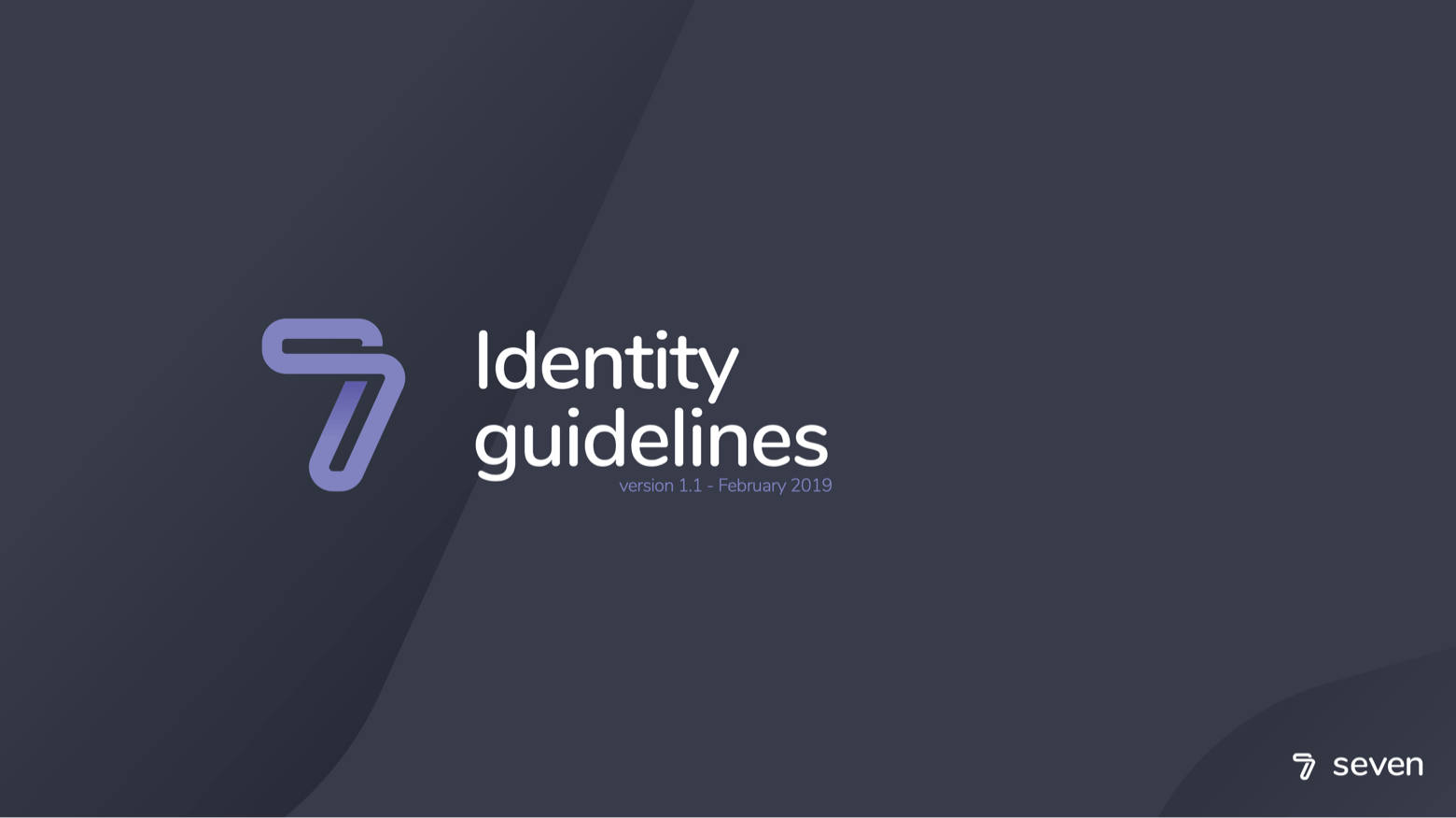 Seven identity guidelines cover showing logo and version