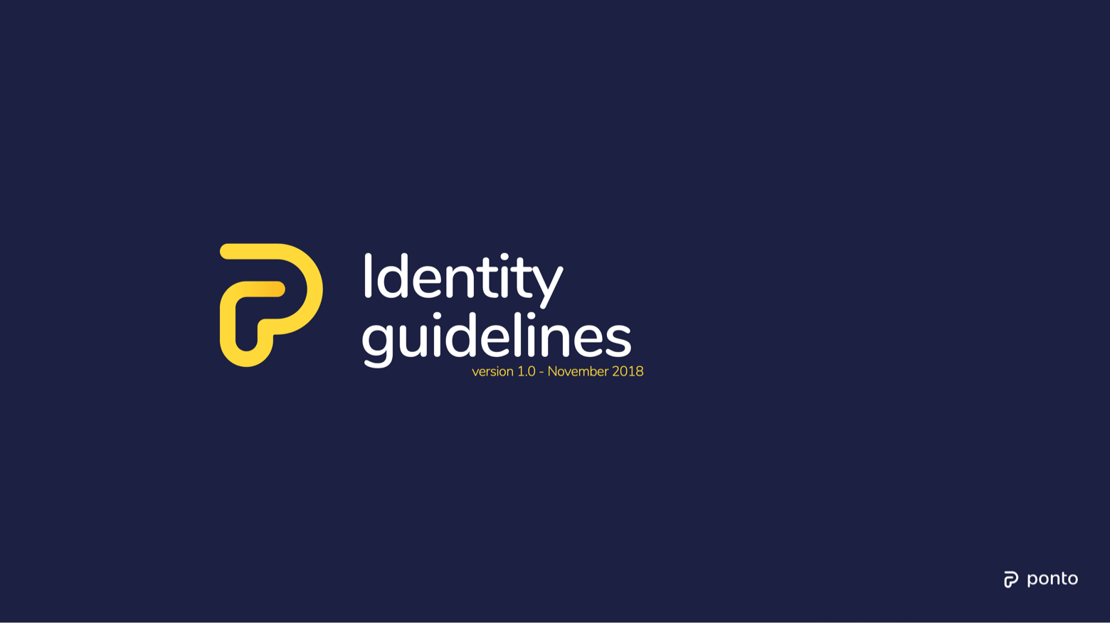 Ponto identity guidelines - cover showing logo and version
