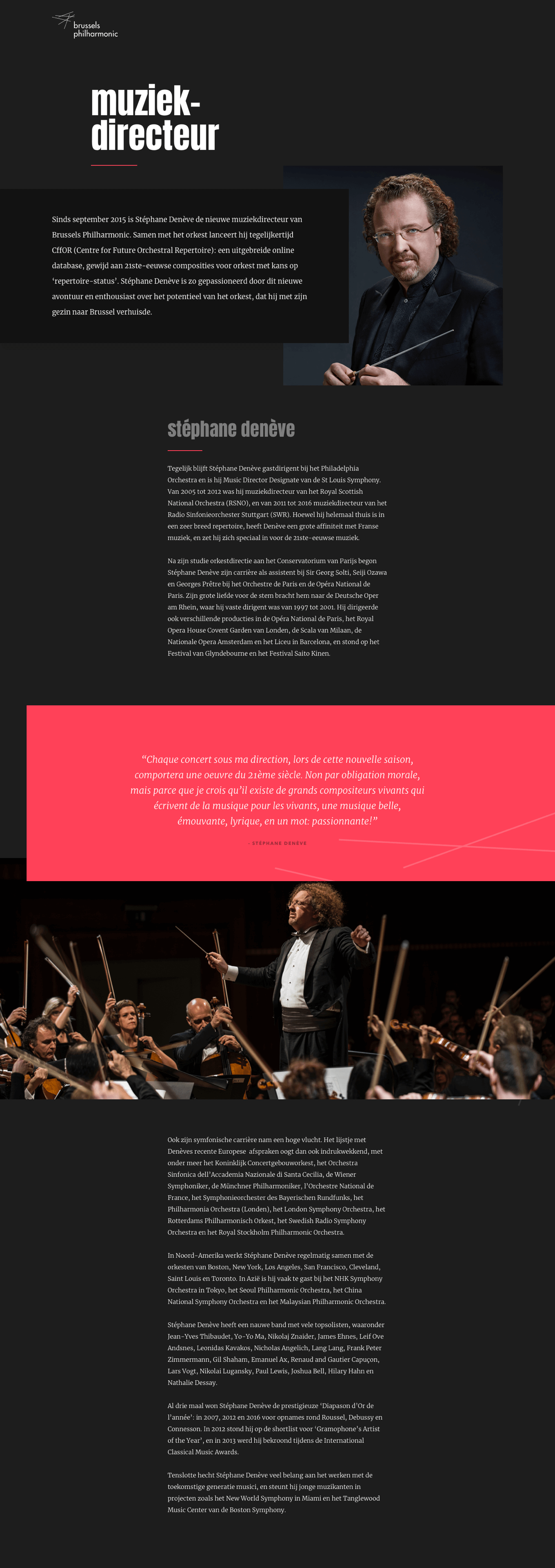 Page on website dedicated to the musical director