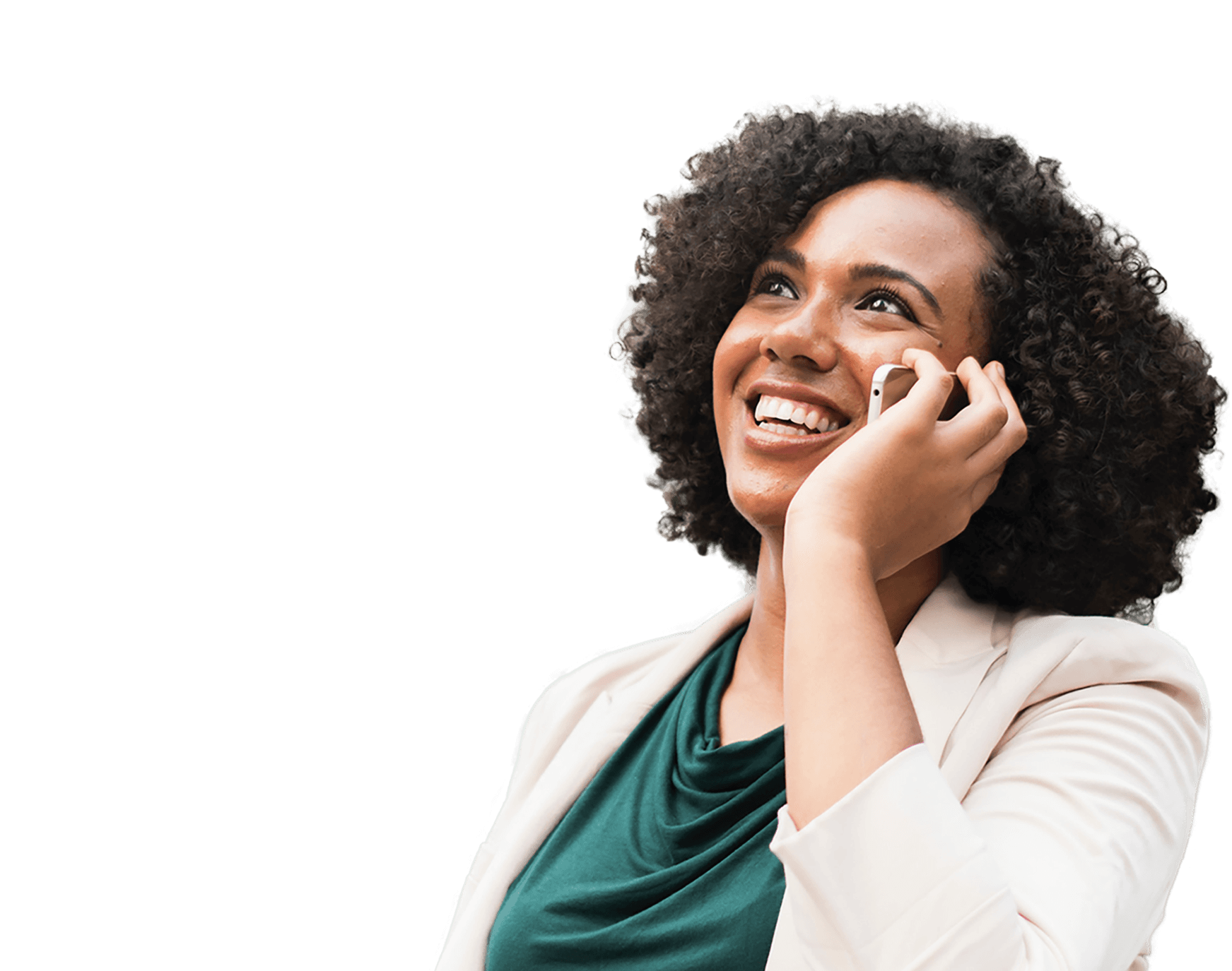 Woman calling and smiling, representing the new overall branding for Isabel Group