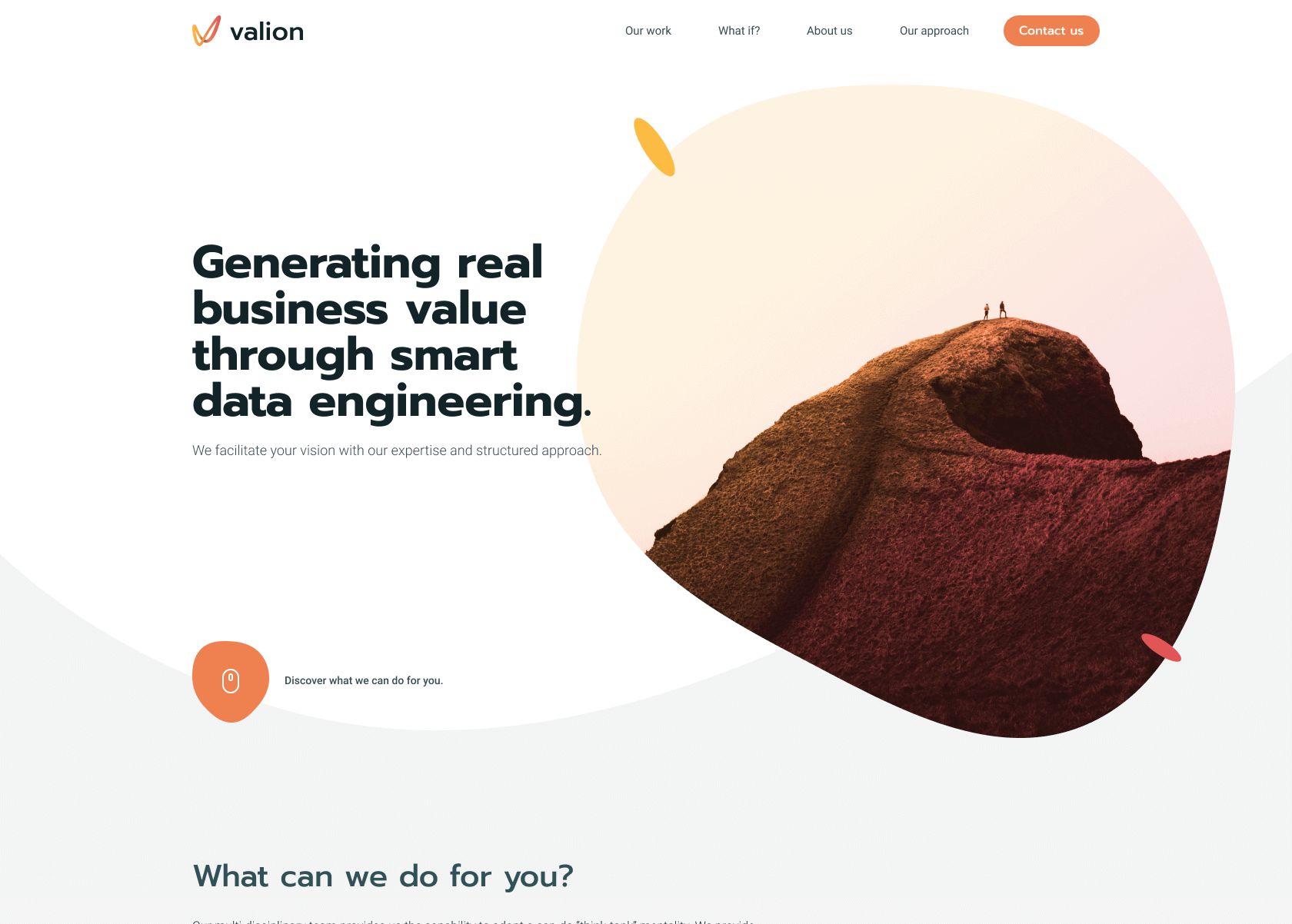 Valion brand new homepage design