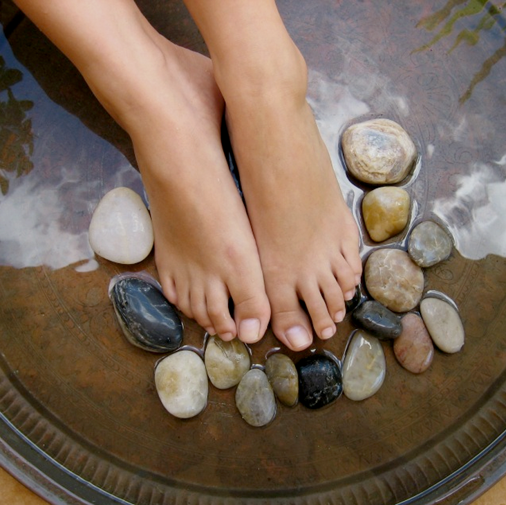 lovely feet and stones
