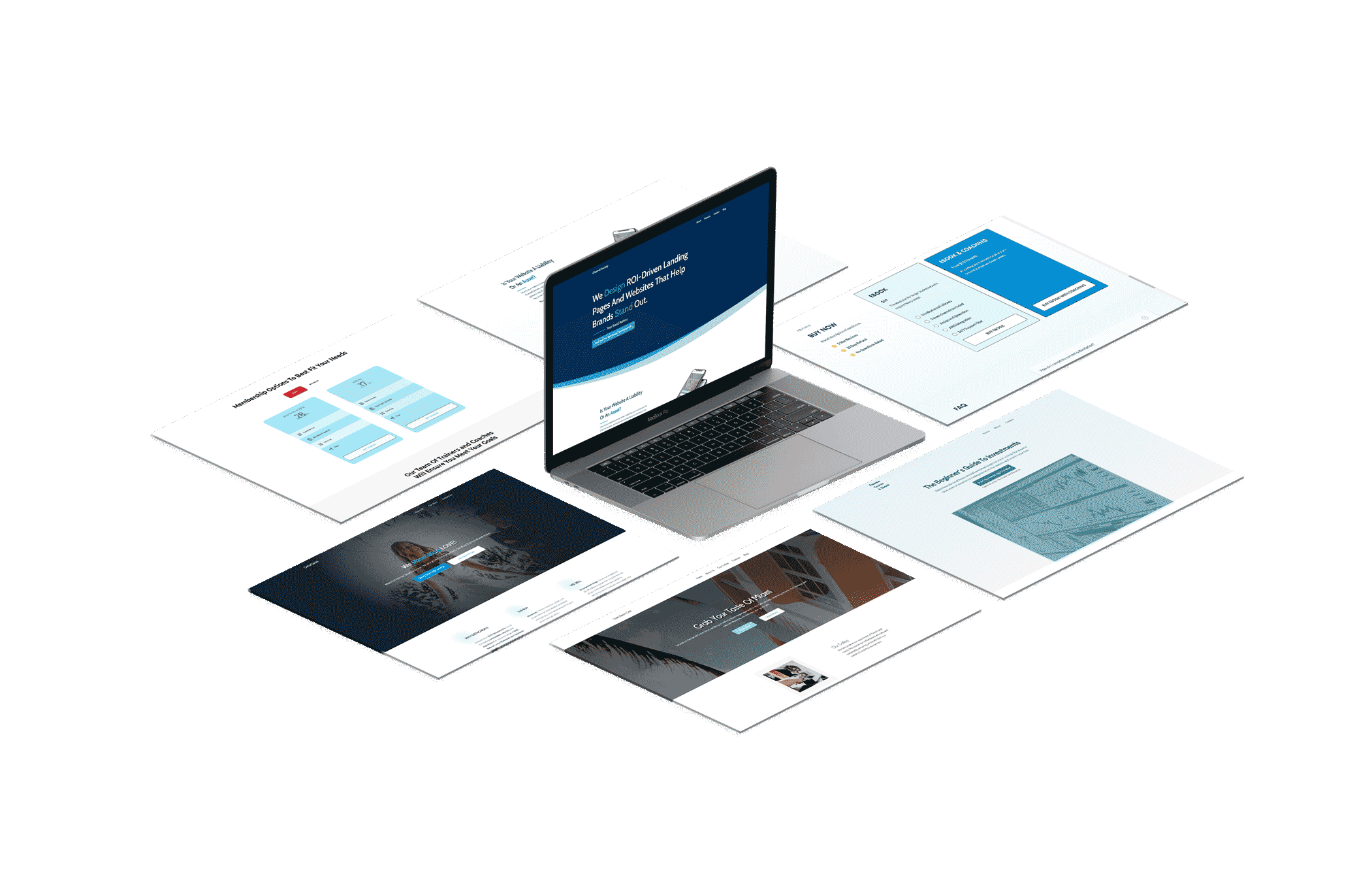 Mock up of seven website interfaces to demonstrate website design ability