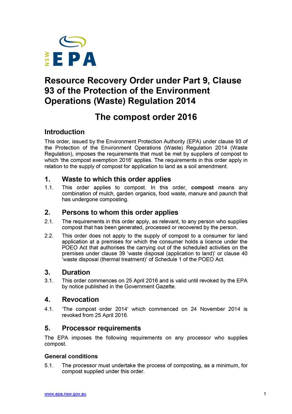 EPA Resource Recovery Order