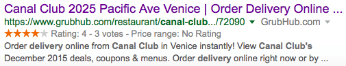 Organic search result for misleading restaurant profile page on GrubHub