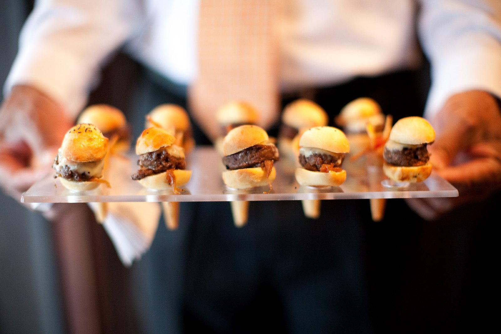Tiny hamburger sliders.