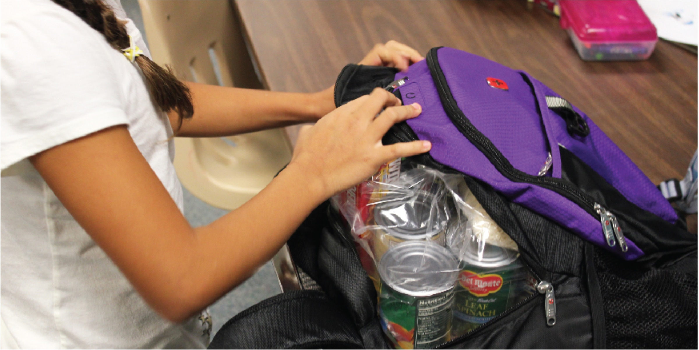 Girl with Canned Goods in Backpack