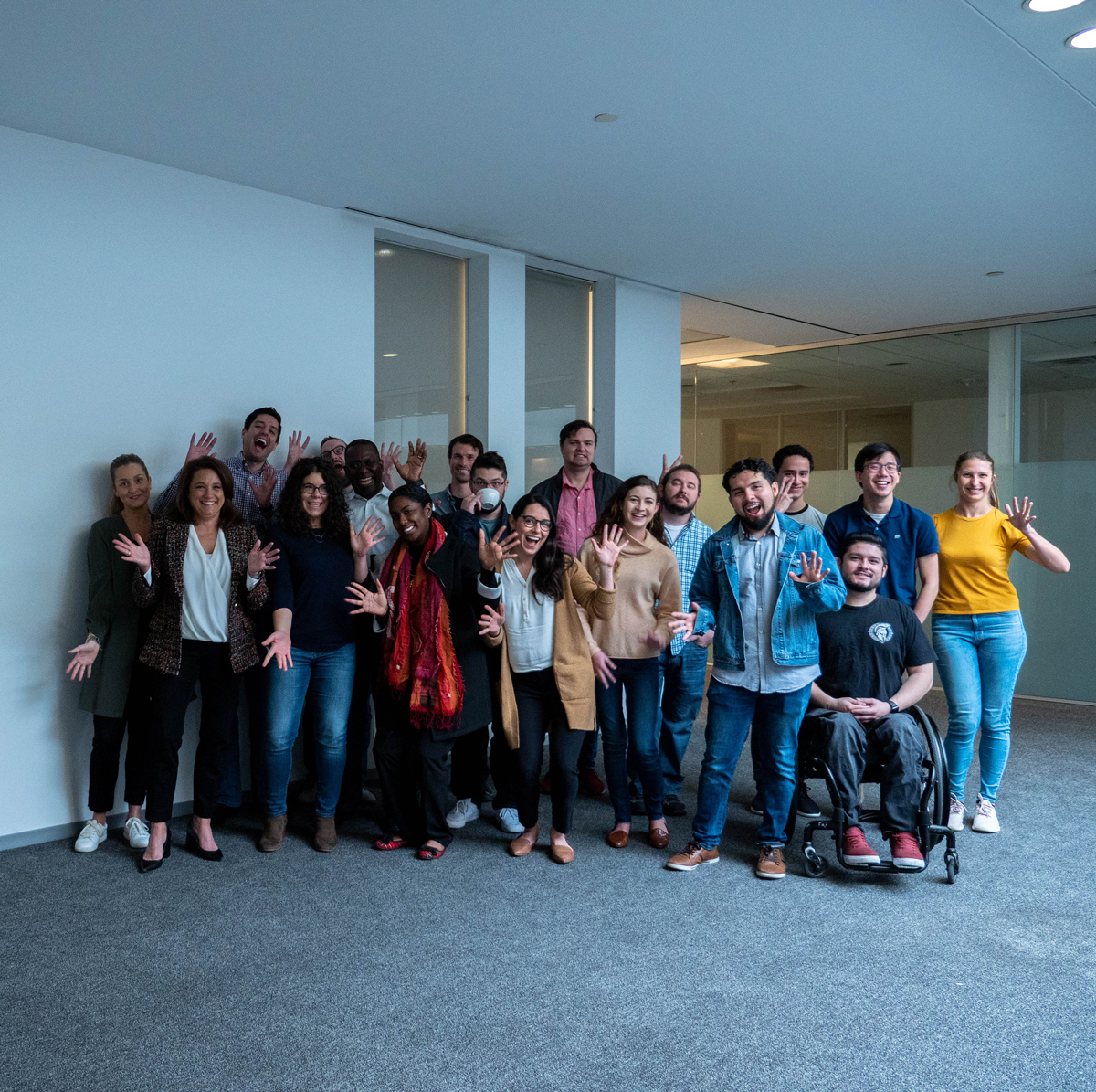A group photo of poetic employees