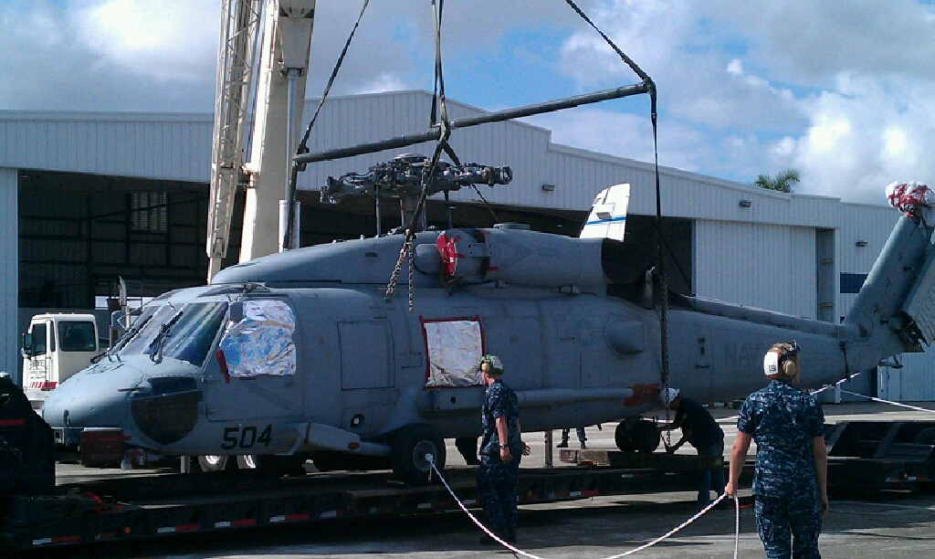 Transporting H-60 Blackhawk Helicopter for the Military