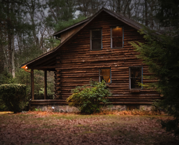 A picture of a log home.
