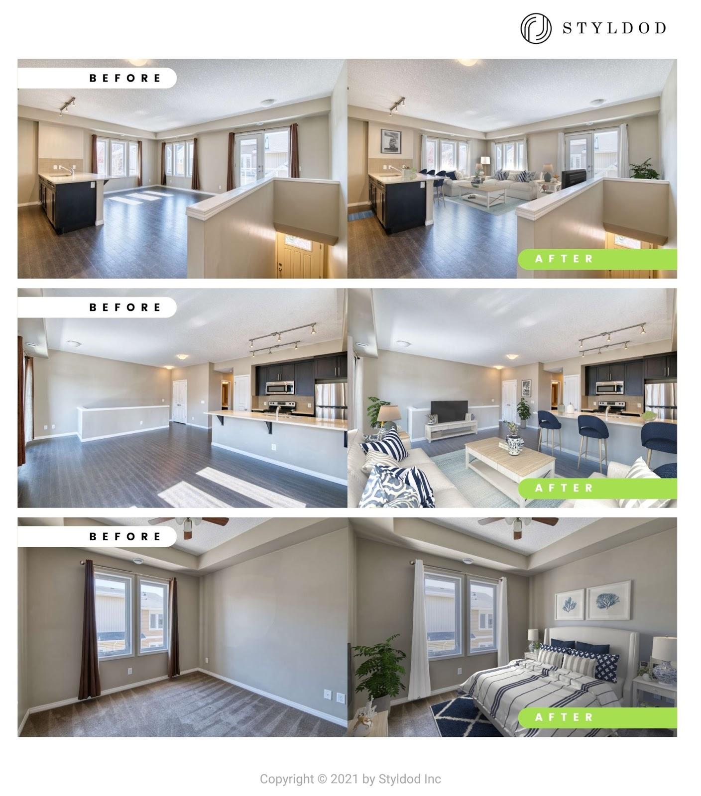 Costal Design Living Room Virtual Staging