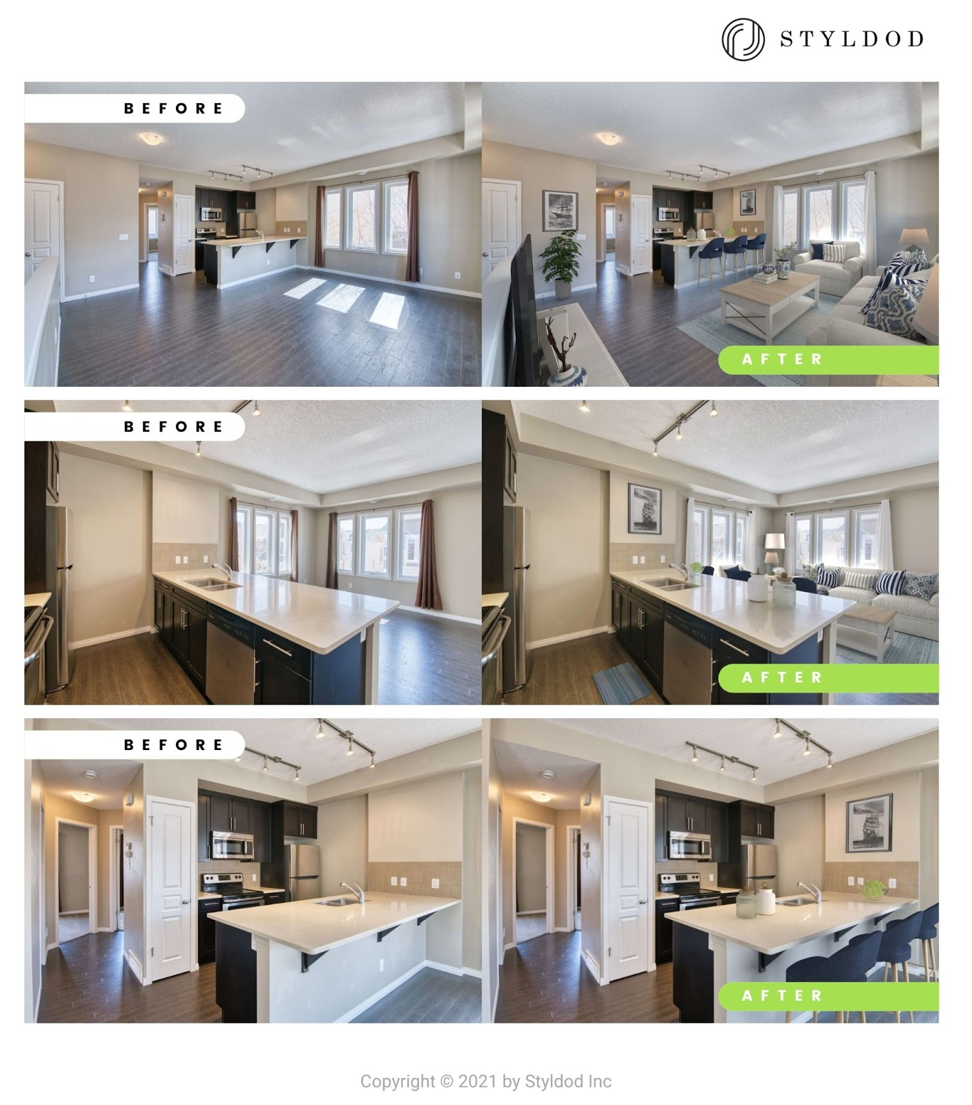 Virtually staged in Costal Design