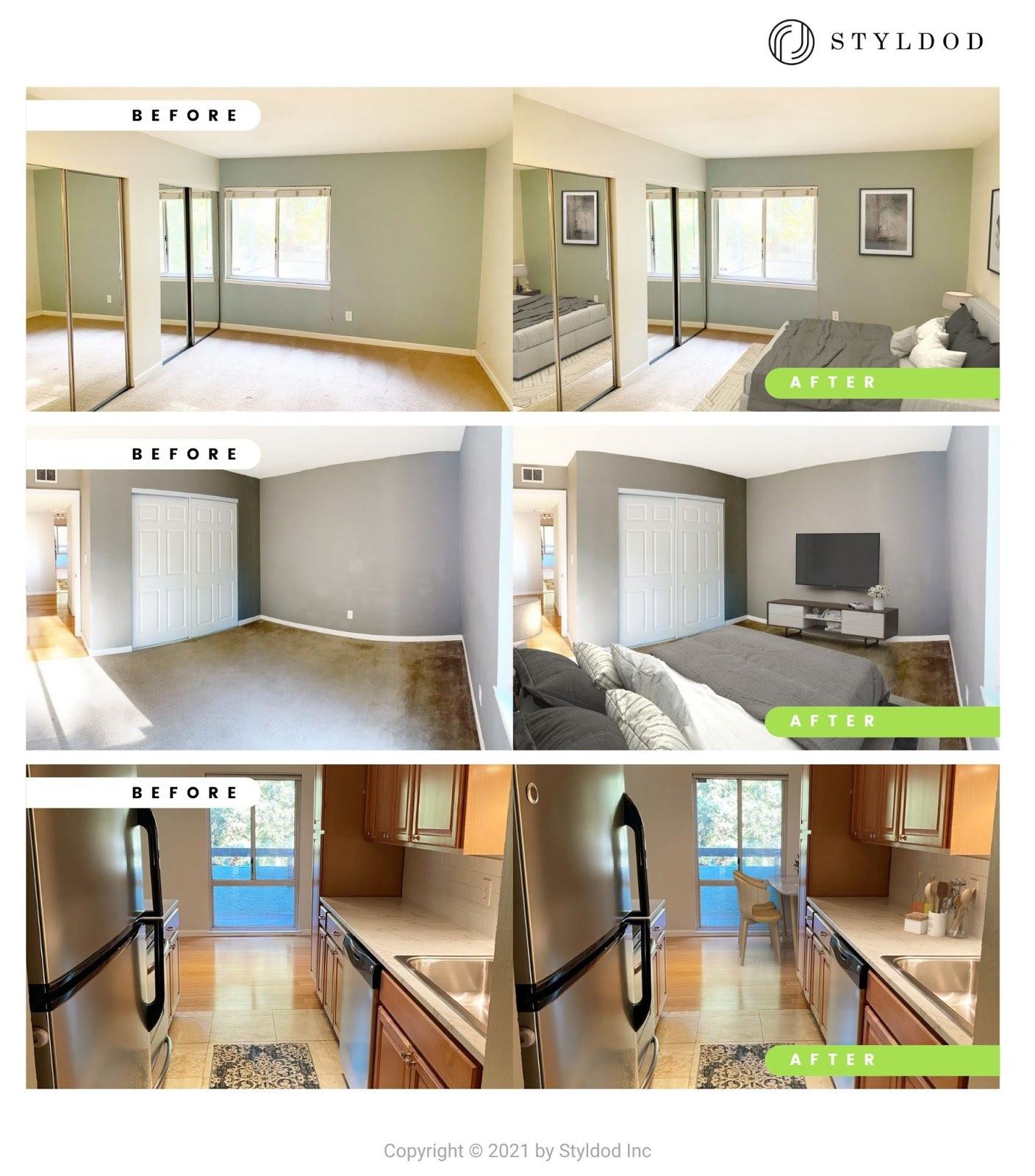 Virtually Staged Bedroom & Kitchen