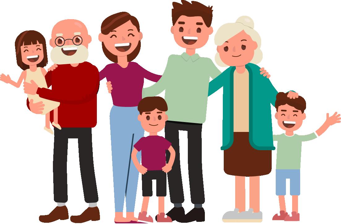 Besteforeldre med barn og barnebarnebarn