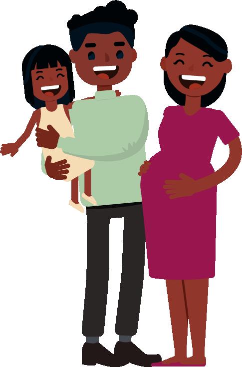 Gravid mor, samt far med datter på armen