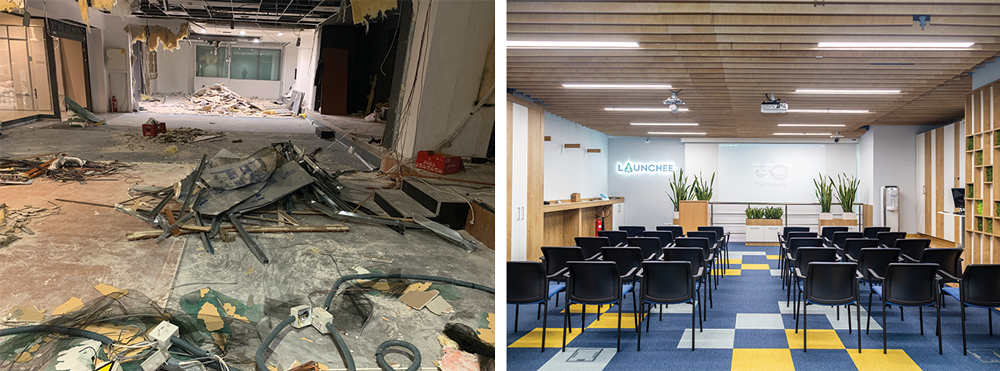 Launchee's space - before and after the renovation