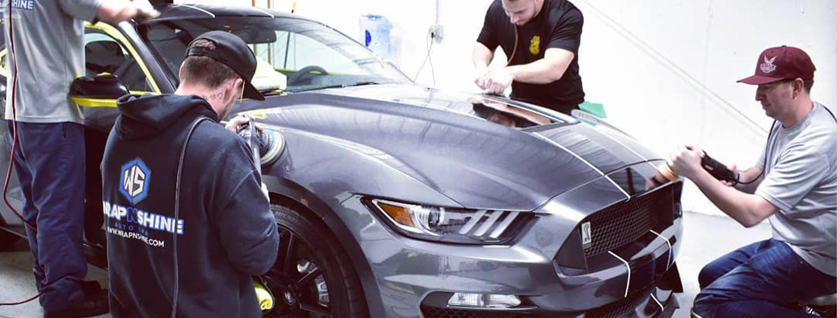 Wrap N Shine team paint correcting a Mustang GT