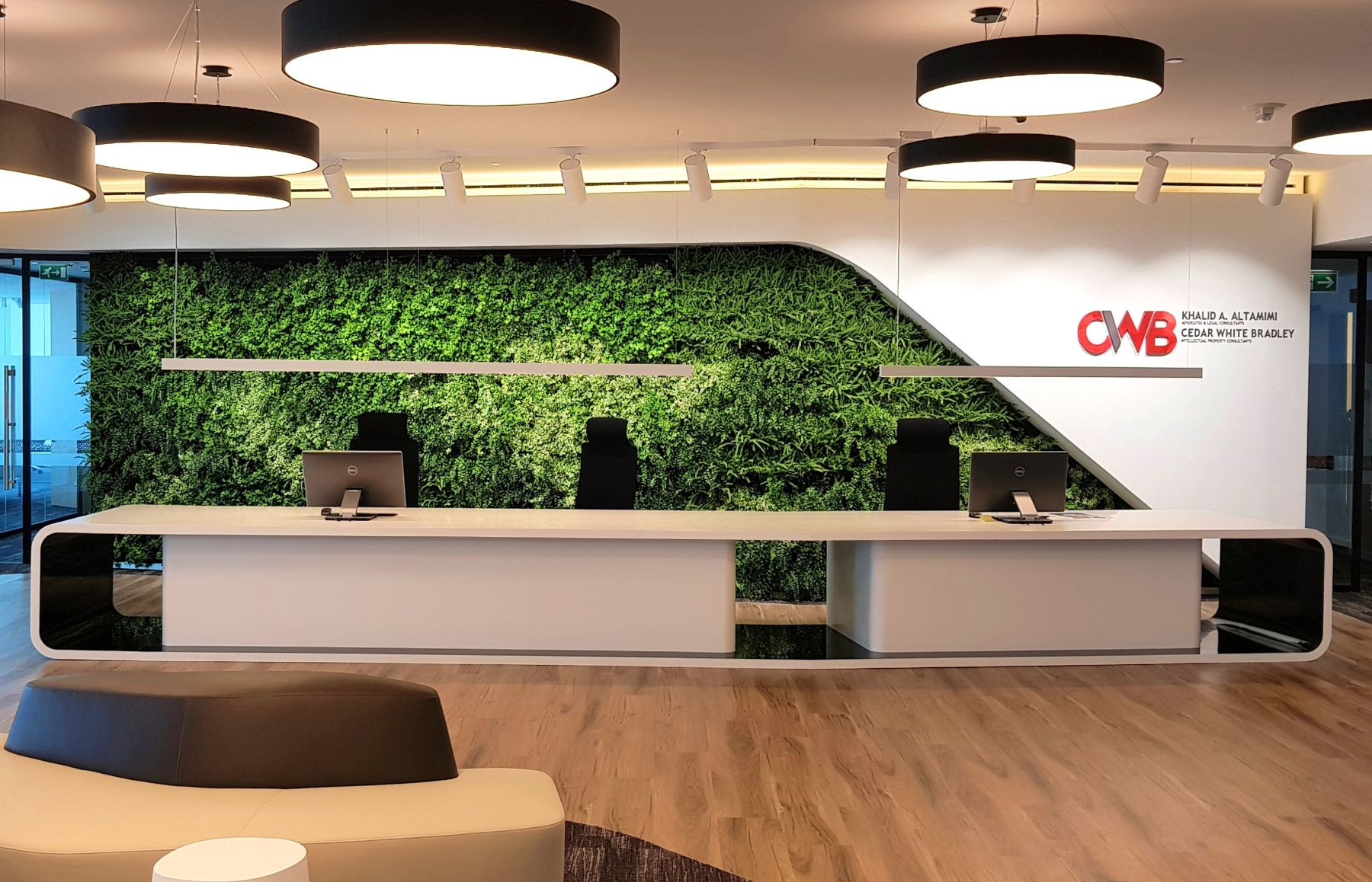Green Wall Reception Area by Planters