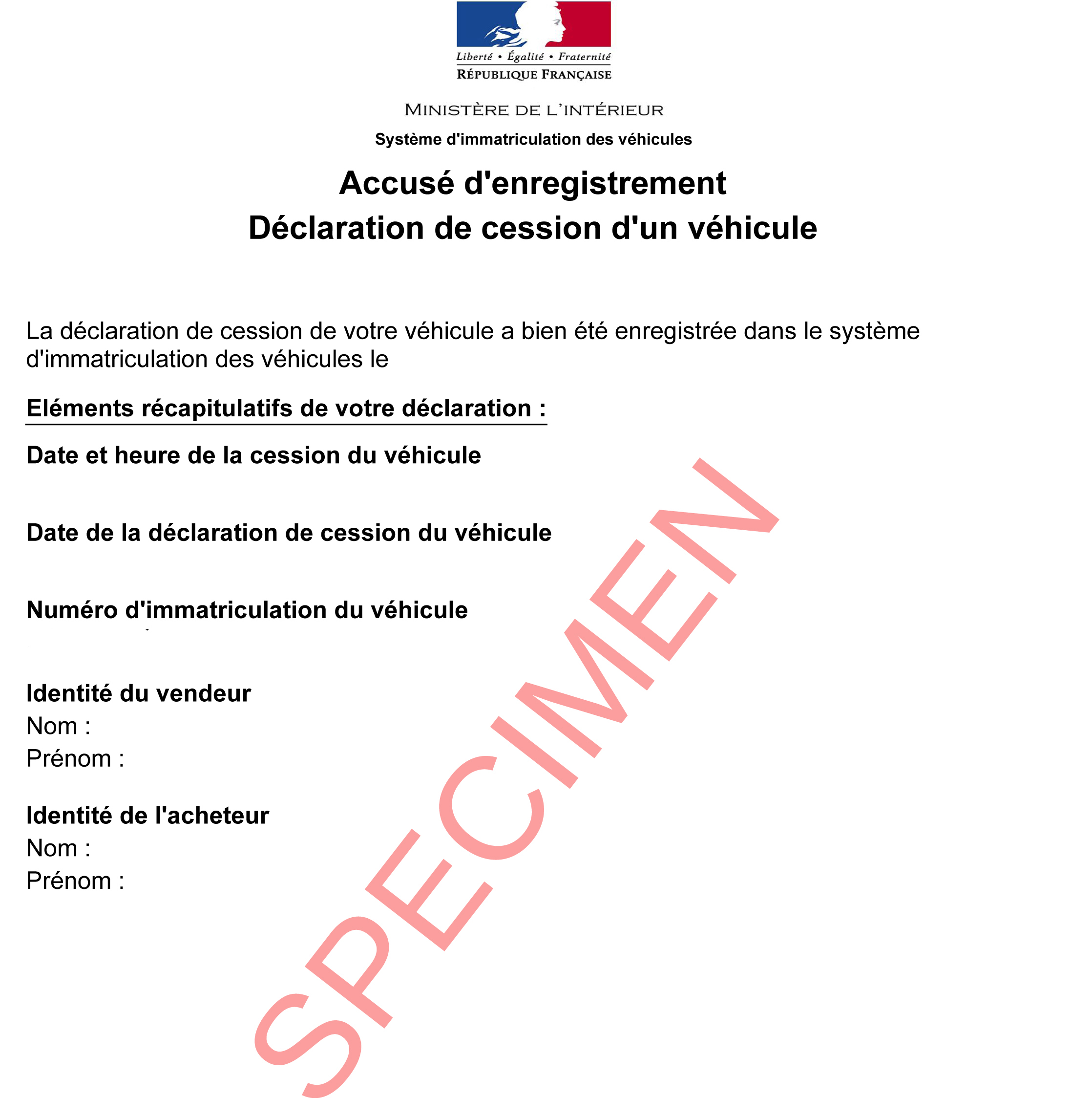 accusé d'enregistrement de cession