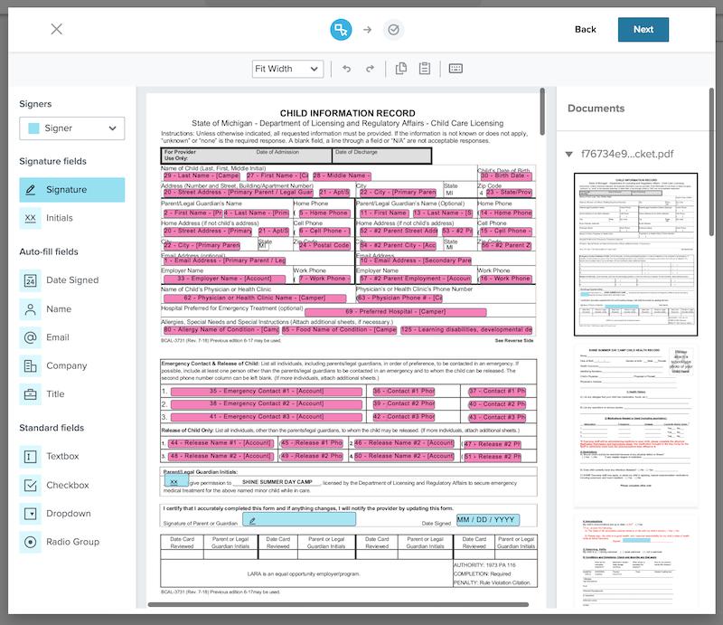 E-Signature field mappings in Enrollsy
