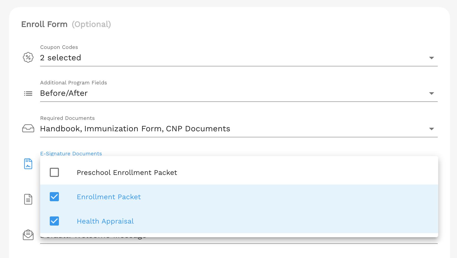 Attach E-Signature documents to Programs in Enrollsy