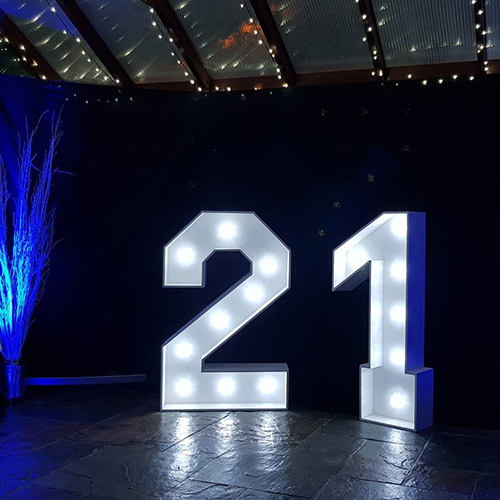 photo of a large 21 sign that lights up