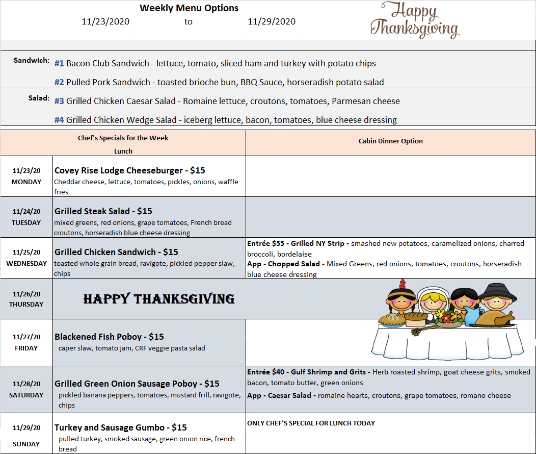 Covey Menu Options Week of Thanksgiving