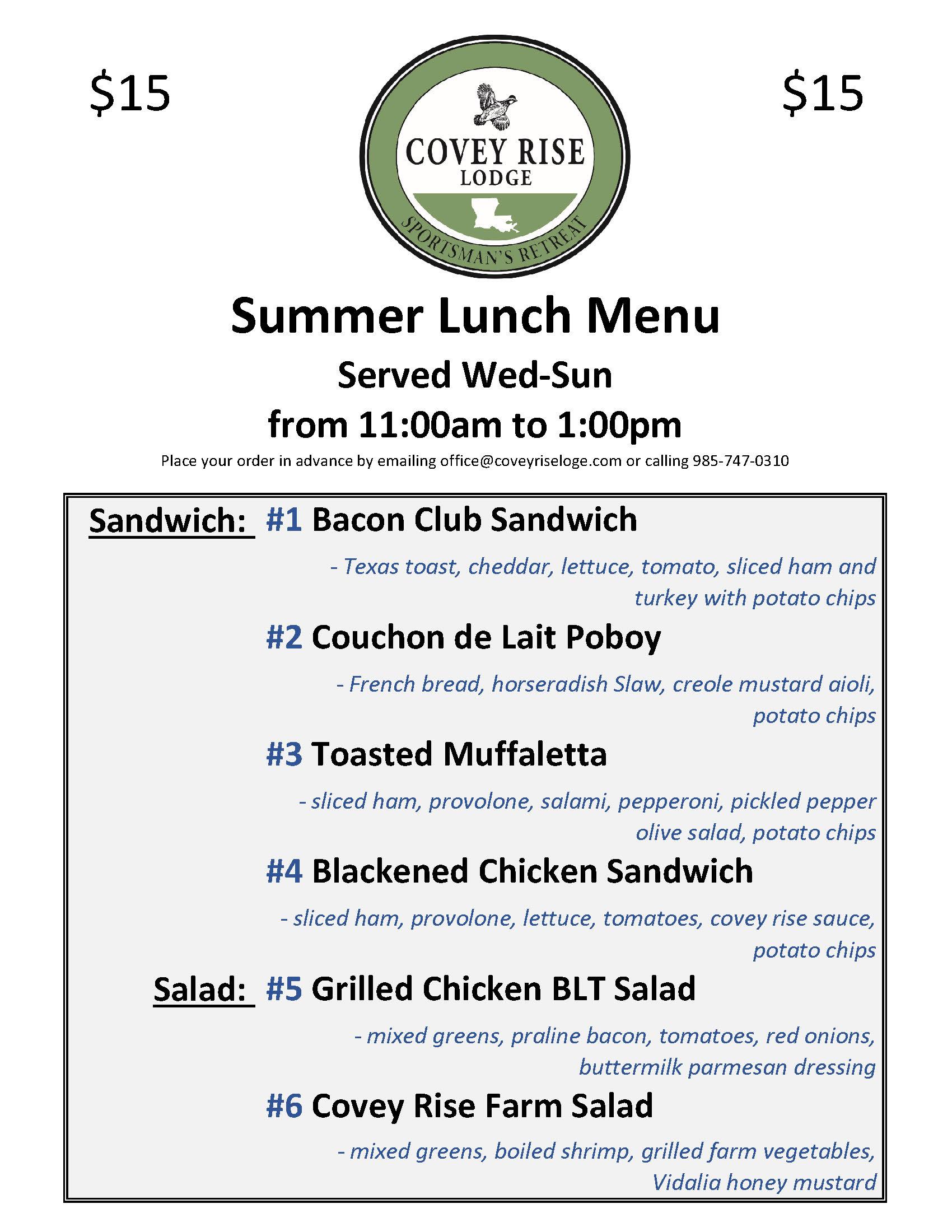 Summer Lunch Menu