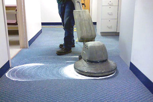 Shampooing office carpeting