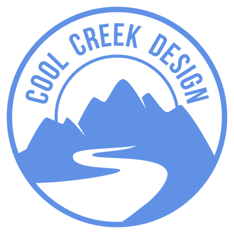 Cool Creek Design circular logo. Our company name arched circle over mountains + stream