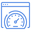 Simple icon showing a web browser with a speedometer with the needle high, indicating high performance due to proper SEO management.