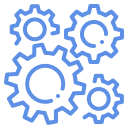 Simple icon showing gears intermeshed depicting the idea of work.